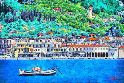 Water Painting - Zakynthos Harbor by George Rossidis