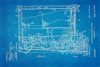Zamboni Ice Rink Resurfacing Patent Art 1953 Blueprint Print by Ian Monk