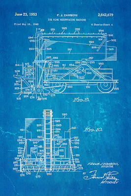 Zamboni Ice Rink Resurfacing Patent Art 2 1953 Blueprint Print by Ian Monk
