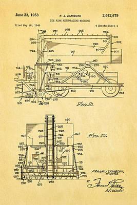 Zamboni Ice Rink Resurfacing Patent Art 2 1953  Art Print