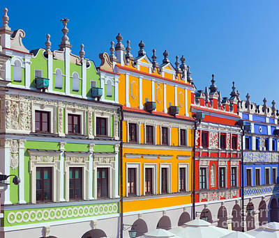 Square Photograph - Zamosc Poland Historic Buildings Of The Old Town by Michal Bednarek