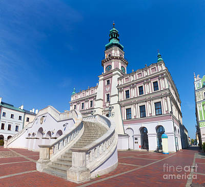 Photograph - Zamosc Poland Historic Buildings With The Town Hall by Michal Bednarek