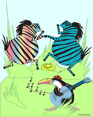 Zany Zebras Dance Art Print by Chris Morningforest