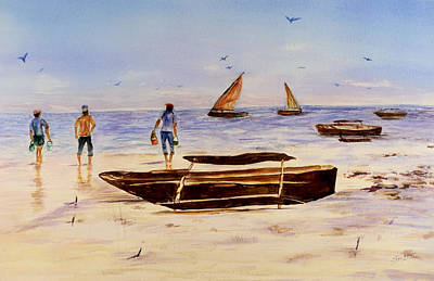Painting - Zanzibar Forzani Beach by Sher Nasser