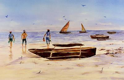 Art Print featuring the painting Zanzibar Forzani Beach by Sher Nasser