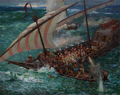 Zaporozhye Cossacks Boarded The Turkish Ship Art Print by Korobkin Anatoly