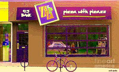 Painting - Zazaza Pizza With Pizazz Gourmet Pizza In The Glebe Urban Scenes Old Ottawa  Art C Spandau  by Carole Spandau