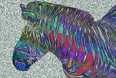 Graze Digital Art - Zebra 2- Happened At The Zoo  by Jack Zulli