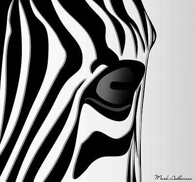 Pitbull Digital Art - Zebra 3 by Mark Ashkenazi