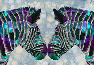 Graze Digital Art - Zebra 5 by Jack Zulli