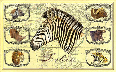 Leopard Wall Art - Digital Art - Zebra African Map Heads by Juan  Bosco