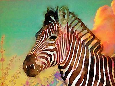 Painting - Zebra Against Green Sky - Horizontal  by Lyn Voytershark