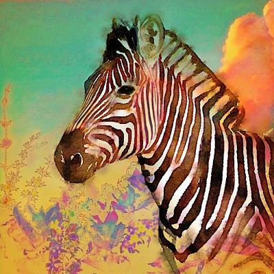 Painting - Zebra Against Green Sky - Square by Lyn Voytershark