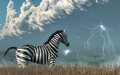 African Wildlife Digital Art - Zebra And Approaching Storm by Daniel Eskridge
