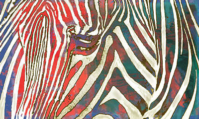 Stripes Mixed Media - Zebra Art - 2 Stylised Drawing Art Poster by Kim Wang