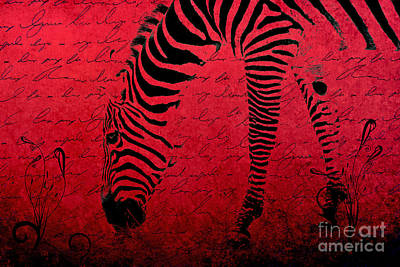 Digital Art - Zebra Art Red - Aa01tt01 by Variance Collections