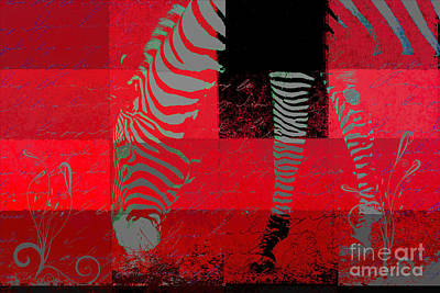 Digital Art - Zebra Art - Red Rsp02 by Variance Collections