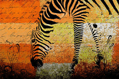 Vibrant Color Digital Art - Zebra Art - Rng02t01 by Variance Collections