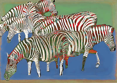 Stripes Mixed Media - Zebra Art - Stylised Drawing Art Poster by Kim Wang