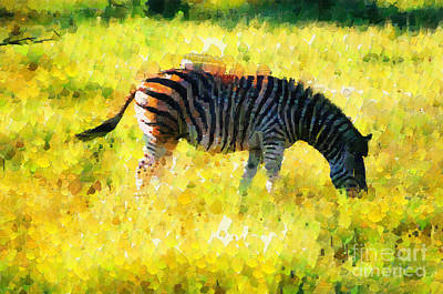 South Africa Zebra Painting - Zebra At Pasture Painting by George Fedin and Magomed Magomedagaev
