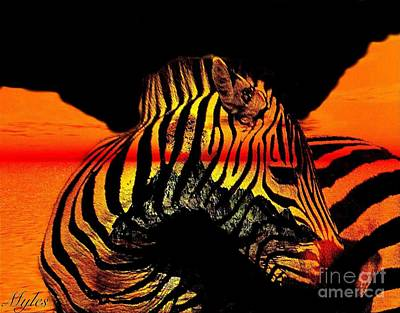 Painting - Zebra At Sunset Abstract by Saundra Myles