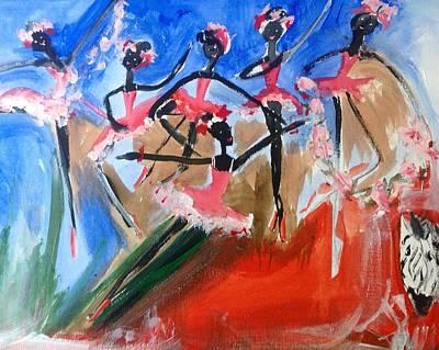 Zebra Ballet Art Print by Judith Desrosiers