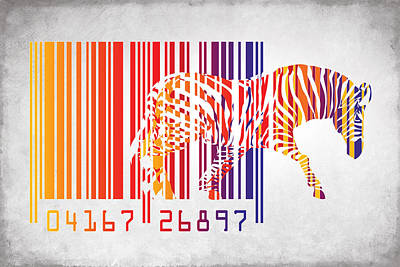 Geometric Animal Digital Art - Zebra Barcode by Mark Ashkenazi
