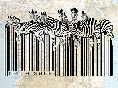 Zebra Digital Art - Zebra Barcode by Sassan Filsoof