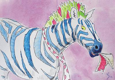 Painting - Zebra Cartoon by Mike Jory