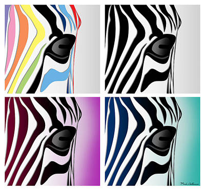 Zebra Digital Art - Zebra Collage   by Mark Ashkenazi