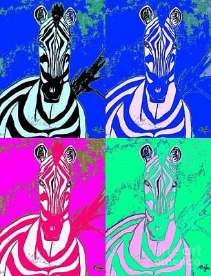Painting - Zebra Collage Pop by Saundra Myles