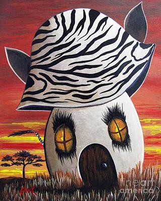 Zebra In Painting - Zebra Cottage By Shawna Erback by Shawna Erback