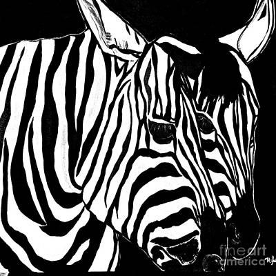 Painting - Zebra Couple Black And White by Saundra Myles
