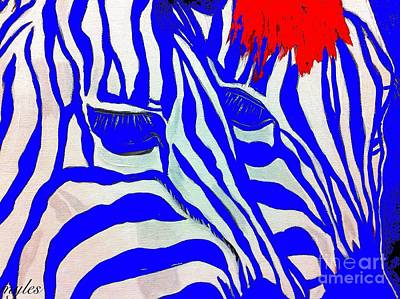 Painting - Zebra Couple In Blue by Saundra Myles