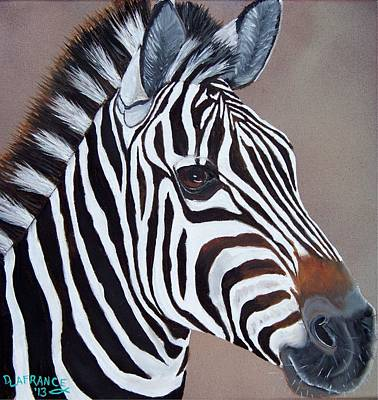 Zebra Painting - Zebra by Debbie LaFrance