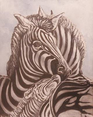 Unity Painting - Zebra Family by Anne Buffington
