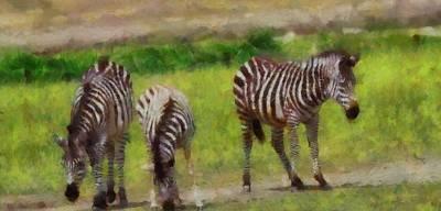 Tanzania Painting - Zebra Family by Dan Sproul