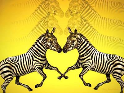 Friendly Digital Art - Zebra Heart by Joyce Dickens