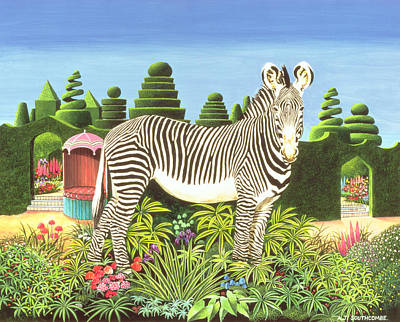 Zebra Art Painting - Zebra In A Garden by Anthony Southcombe