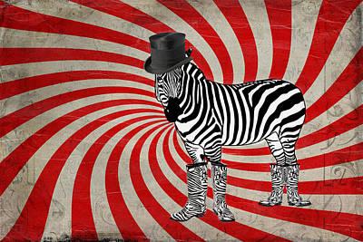 Black Top Digital Art - Zebra In Boots by Terry Fleckney
