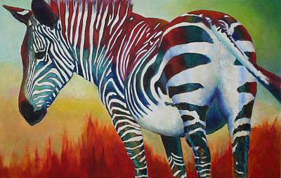 Zebra In The Red Art Print by Carol Jo Smidt