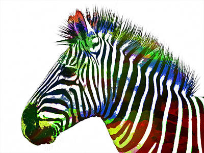 Zebra In Painting - Zebra In Watercolor Paint by Celestial Images