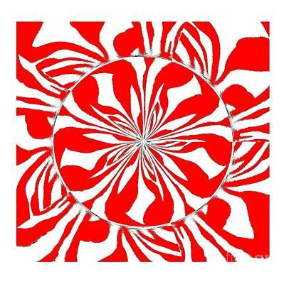 Painting - Zebra Kaleidoscope Red And White by Saundra Myles