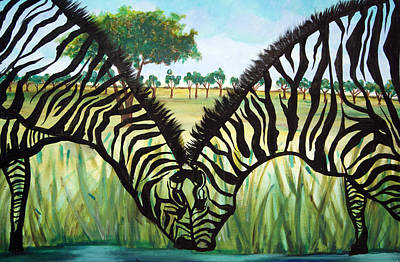 Painting - Zebra Kiss by Ottoniel Lima and Lorinda Fore