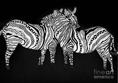 Zebra Love 1 Art Print by Karen Larter