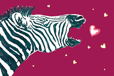 Abstract Hearts Drawing - Zebra Love - Stylised Drawing Art Poster by Kim Wang