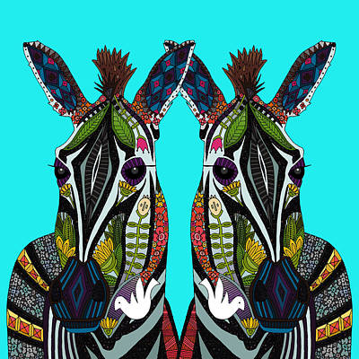Zebra Drawing - Zebra Love Turquoise by Sharon Turner
