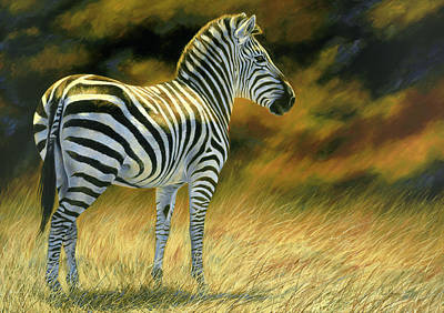 African Wildlife Painting - Zebra by Lucie Bilodeau