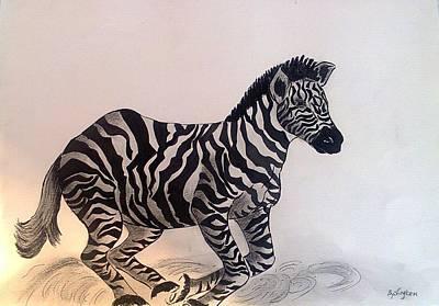 South Africa Zebra Painting - Zebra by Lyken Mkhonto