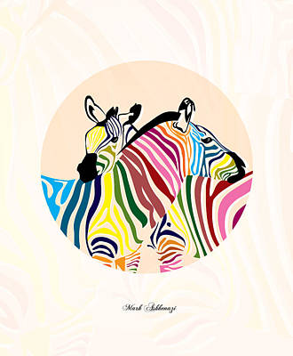 Abstract Wildlife Digital Art - Zebra  by Mark Ashkenazi